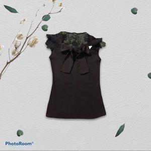 Unnamed Black NWT tank w/ Lace & Bow